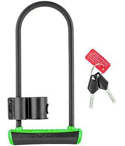 Cadeado Onguard Trava U-Lock Barra de Aço de Chave 115mm x 292mm Comprimento Preto Verde Neon
