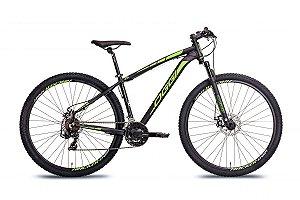 Bicicleta Oggi Hacker Sport MTB 29er Shimano 21Vel Disco Mecanico Preto Verde