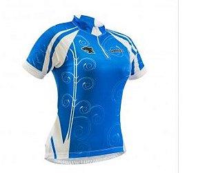 Camisa Refactor Venzo de Ciclismo Feminina Manga Curta Azul Branco