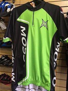 Camisa Refactor Mosso de Ciclismo Masculina Manga Curta Verde Preto