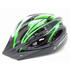 Capacete Absolute de Ciclismo MTB Lazer com luz traseira Preto Verde