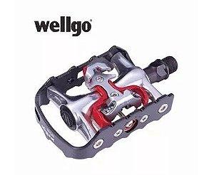 Pedal Wellgo WPD 998 Mtb SPD 2 Funções Plataforma e Clip em Aluminio Preto