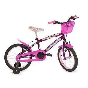 Bicicleta Infantil Rharu Aro 16 Roda Aluminio Roxa Flower