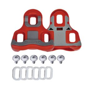 Par de Tacos Wellgo RC 7B 6° para Pedal Look Keo Speed SPD Clipless de Encaixe Vermelho Cinza