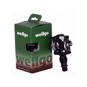 Pedal Wellgo M919 MTB SPD Clipless de Encaixe em Aluminio Preto