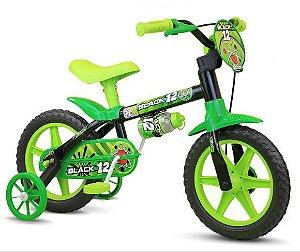 Bicicleta Infantil Nathor Aro 12 Black12 Preto Verde
