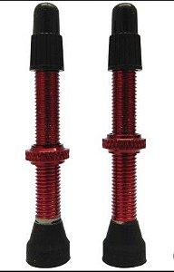 Par de Valvula Presta 45mm Tubeless MTB Vermelho