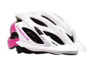 Capacete Absolute MIA de Ciclismo Lazer com luz traseira Rosa Branco tam S/M