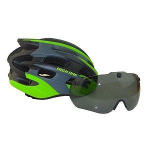 Capacete High One de Ciclismo MTB Speed Lazer Com Oculos de Iman e Luz traseira Preto Cinza Verde Tam G