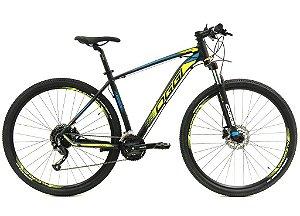 Bicicleta Oggi Big Wheel 7.0 MTB 29er Shimano 27Vel Disco Hidraulico Preto Amarelo Azul 2019