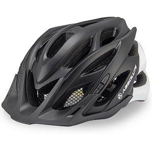 Capacete Absolute Wild de Ciclismo Lazer com luz traseira Preto Branco Fosco tam M/G