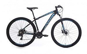 Bicicleta Oggi Hacker Sport MTB 29er Shimano 21Vel Disco Mecanico Preto Azul
