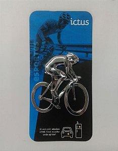 Adesivo para Carro Ictus Ciclista Cromado Emblema