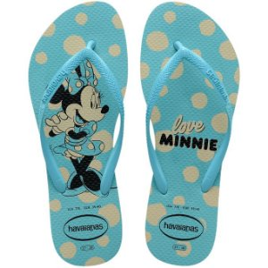 Chinelo Havaianas Kids Slim Disney Minnie Azul Tam 25/26