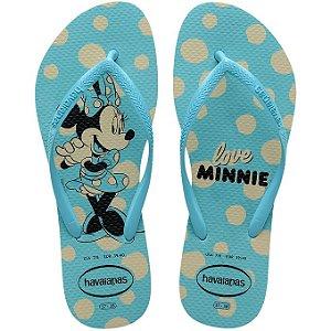 Chinelo Havaianas Kids Slim Disney Minnie Azul Tam 31/32