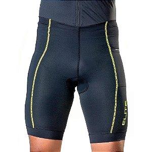 Bermuda de Ciclismo Elite Masculino Preto Verde Tam M