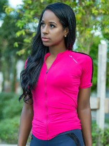 Camisa de Ciclismo Elite Feminina Cherry Rosa Preto Tam GG