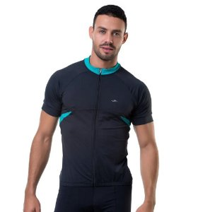 Camisa de Cilismo Elite Masculina Preto Verde Tam EG2