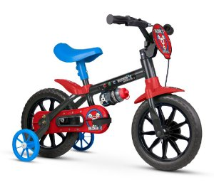 Bicicleta Infantil Nathor Aro 12 Machanic Preto Vermelho