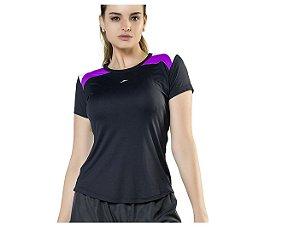Camiseta Running Ellite UV50 Potenza Preto Roxo Tam M