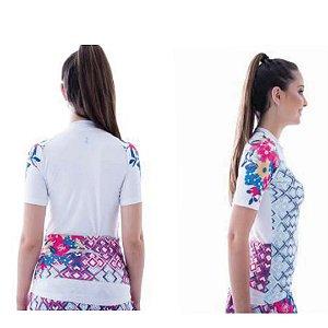 Camisa de Ciclismo Elite Feminina Branco Estampa Tam GG