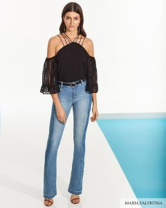 Calça Jeans Maria Valentina Detalhe Reservas