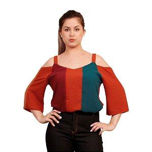 Blusa Maria Valentina Crepe Tricolor