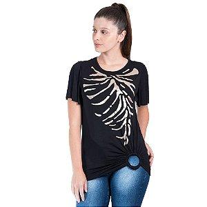 T-Shirt Morena Rosa Decote Redondo Argola