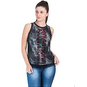 Blusa Morena Rosa Decote Redondo Cavada Silk Estampada