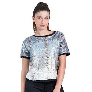 T-Shirt Leboh Decote Retilínea Lisa Tie Dye Estampada