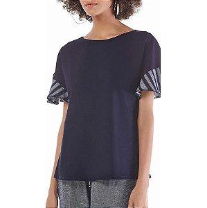 T-Shirt Maria.Valentina Decote Redondo Lisa Manga Diferenciada