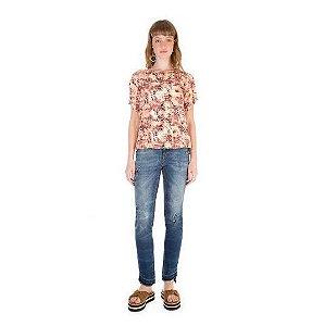 T-Shirt Zinco Decote Redondo Animal Print Abertura Costas Estampado