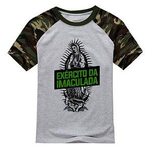 Camiseta Exército da Imaculada   Raglan Cinza/Camuflada