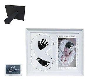 Porta Retratos Rosa Bebê Recém Nascido Com Carimbo