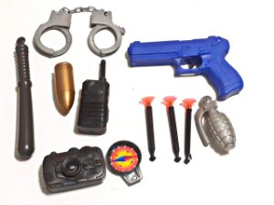 Brinquedo Arminha Lançador De Dardos Granada Kit Policial