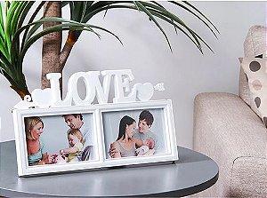 Porta Retrato Duplo Casamento Love Amor Coração 10x15