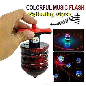 Pião Com Musica E Luz E Lançador Automático Brinquedo