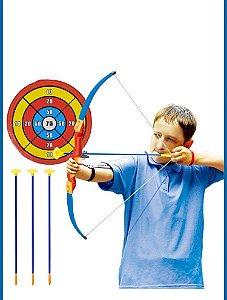 Kit Arqueiro Arco Flecha Infantil + Alvo Menino Menina Super Archery