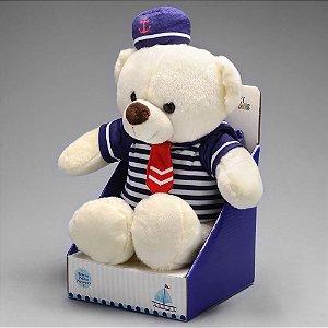 Urso de Pelúcia Para Decorar Quarto de Bebe  Marinheiro Azul 25cm