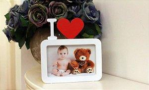 Porta Retrato Bebê  Coração Love Branco Decoração Amor