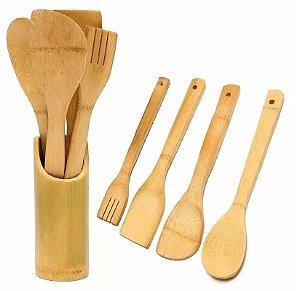 Kit 4 Colher De Bambu (pau) Suporte Cozinha Culinário