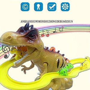 Brinquedo Dinossauro Pista De Corrida  Com Luz e Som