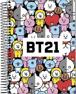 Caderno Bts Mascote Bt21 Espiral 1 Matérias Universitário 96 Folhas - Jandaia