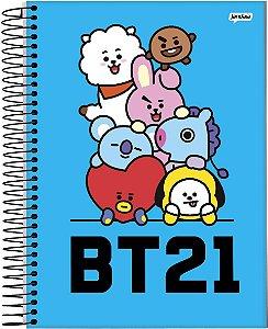 Caderno Bts Mascote Bt21 Espiral 1 Matérias Universitário 96 Folhas Azul