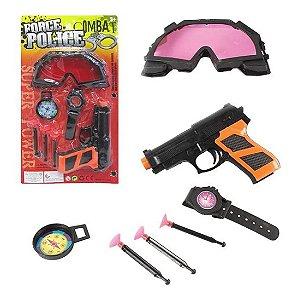 Kit Pistola Lança Dardo Óculos Relógio Bússola 7 Peças