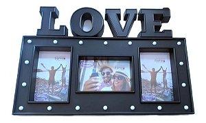 Porta Retrato Love Ou Painel Para 3 Fotos Prestige Com Led