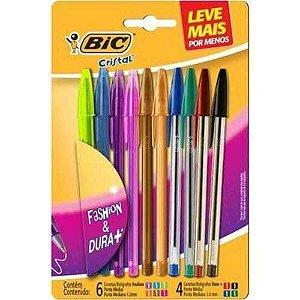 Caneta Escolar Kit 10 Canetas Coloridas Esferográfica Bic