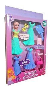 Boneca Baile Das Princesas  Boneca Princesa Com Assessórios Kit Vestido Bolsa