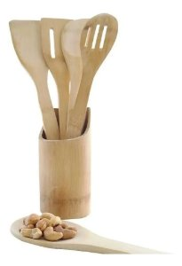 Kit Culinário Colher De Bambu (pau) E Suporte 5 pcs