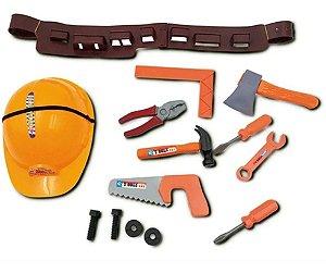 Kit Ferramentas De Brinquedo Com Cinto Capacete Engenheiro